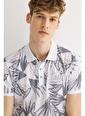 Avva Erkek  Polo Yakalı Baskılı Tişört A01Y1014 Gri